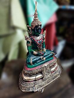 0203-thai Art Emerald Buddha Statue Meditation Amulet Green Old Gem Gold Armor
