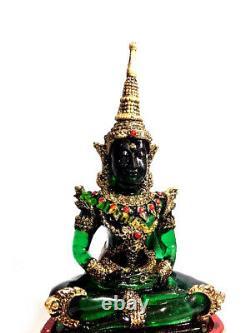 0203-thai Art Emerald Buddha Statue Meditation Amulet Green Old Gold Armor 5inch