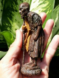0340-thai Buddha Amulet Talisman Statue Lp Mun Wat Baan Jarn 53 Money Lucky Real