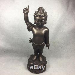 10.5 Child Kid Baby Buddha Statue Religion Buddhism Talisman Thai Amulet Brass