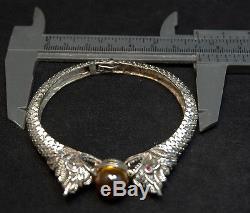 100% Real Yellow Phaya Naga Eye Sterling 925 Silver Bangle Thai Amulet Buddha