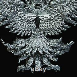 100%Solid silver Buddha Thai Eagle Garuda Phaya Krut Amulet Success LP. Tong