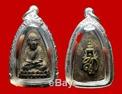 100% Thai Buddha Amulet Pra LP Toud Wat Huay Mongkol Silver Casing 2000
