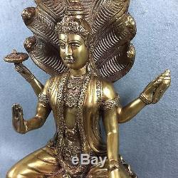 12 Bucha Statue Phra Vishnu Nak Prok Cobra Thai Buddha Amulet Talisman RARE