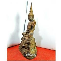 12 Incs Thai Antique Buddha Phra Keaw Ratthana Luck Love Rich Protected RARE