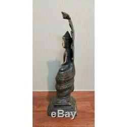 13.5 Incs PHRA NAK PROK Thai Cambodian Statue Buddha Brass Amulet Good Fortune