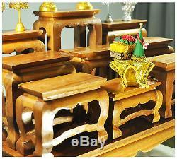 15 Altar Thai Wood Carving Tables worship Buddha amulet Set Shelf Statue figure