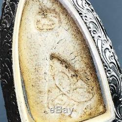 16093-vintage Stencil Silver Case Thai Amulet Millionaire Lp Boon Walking Buddha