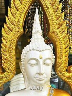 16133-large Fiber Glass Thai Buddha Statue Peaceful Amulet Paint Chinnaraj 49cm