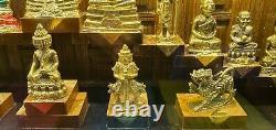 18 Buddha Mix Statue Thai Amulet wooden frames hand made work Gold light Gift