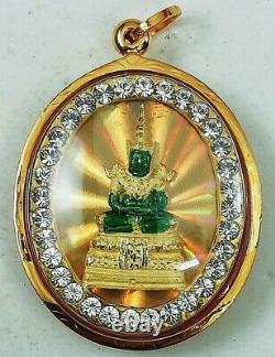18K Gold Emerald Buddha Pendant Amulet Thai Yellow Auspicious Men Women Real