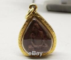 18K Gold Thai Buddha Amulet Pendant Encased Ornate Carved Clay Stone Vtg Phra