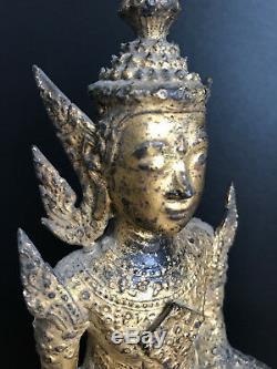 18th/19th C. Thai Buddha Phra Rattana Thai Gilt Bronze Buddha