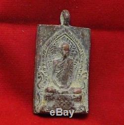 1939 Lp Derm Thai Antique Coin Buddha Good Luck & Success Yantra Amulet Pendant