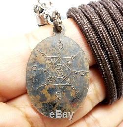 1955 Lp Klai Coin 1st Batch Bless Success Lucky Rich Pendant Thai Buddha Amulet