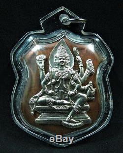 2002 Thai Buddha'brahma' Figure'phra Rom Jakkapetch' Silver Mask Amulet Coin