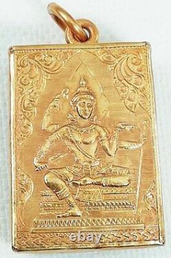 22K Gold Buddha Pendant Thai Amulet Auspicious Solid Yellow Men Women Genuine