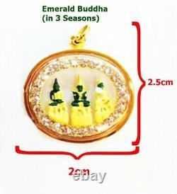 22k Gold Pendant Thai Amulet Emerald Buddha in 3 Seasons Auspicious Yellow Fine