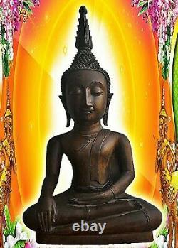 25'' Antique Thai Chang Rung Buddha Bronze Bigger Head Figure Good Collect RARE