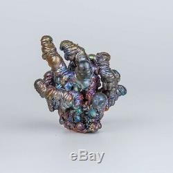 309g Leklai NAGA BUCHA Rainbow 7Color magic lucky Rare thai buddha amulet 986
