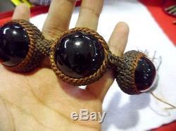 4 Meteorite Tektite Space Rock Bracelet Powerful Buddha Thai Amulet LUCKY RARE
