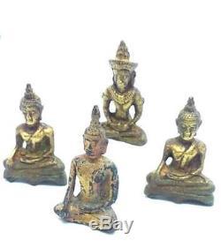 4 Mix Mini Brass Statues Buddha Ayutthaya Thai Buddha Amulets Wealth fortune