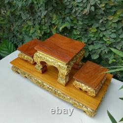 4 pcs/ Set Small Altar Table Thai Buddha Worship Teak Wood Amulet Handmade