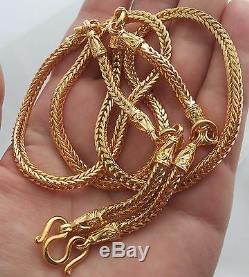 5 Hooks Pillar Snake Bone Gold Plated Necklace Phra Thai Buddha Amulet Hanging