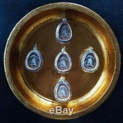 5 x Rare Phra Pidta Pim Jumbo 9 Silver Takrud LP Toh Thai Amulet Buddha BE 2522
