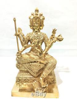 6466-thai Amulet Buddha Bronze Statue Pha-phom 4 Four Face God Lp Nong Big Shine