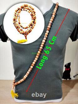 6848 Necklace Natural Buddha Thai Amulet Relic Healing Stone 108Bead Yellow 65cm