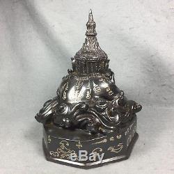 7.5 Bucha Statue Phra Rahu Om Jun LP Noi Thai Amulet Buddha Talisman brass rare