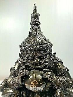7.5 Phra Rahu Om Jun Brass Buddha Statue Lp Noi Luck Rich Talisman Thai Amulet