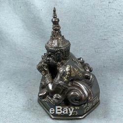 7.5 Phra Rahu Om Jun LP Noi Thai Amulet Buddha Talisman Statue brass Talisman