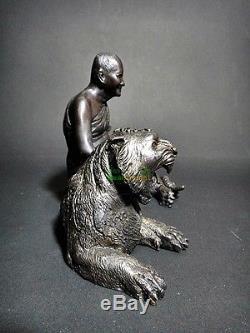 8714-Bronze Statue Lp Pern Tiger Rider Wat Bangpha Amulet Thai Buddha Meditation