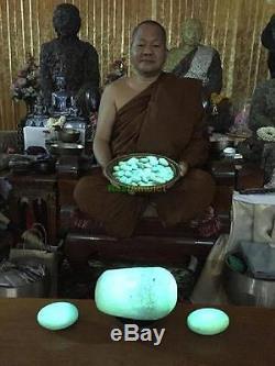 9012-buddha Statue Leklai Thai Amulet Meditation Glow In Dark Naga Green Somporn