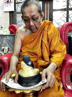 9072-large Thai Amulet Happy Fat Buddha Statue Meditation Gold Sankajai Lp Pern