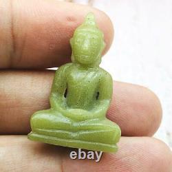 9095-leklai Statue Green Glow In Dark Buddha Thai Amulet Moon Light Lp Somporn