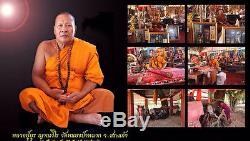 925 SILVER COIN Thai Buddha Amulet Phra Narai & Krut RAHU Protect Genuine Case