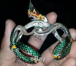 925 SOLID SILVER NAKA LP SresudTho genuine Thai Buddha Amulet Bracelet 1 of 19