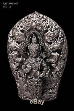 925 Solid Silver Phra PaThomNaKa Wat WiMutTiTham Thai Buddha Amulet Protect RARE