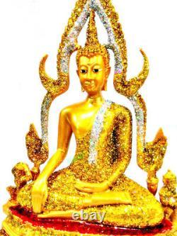 9288 LARGE 33cm THAI BUDDHA STATUE PEACEFUL AMULET DEITY GOLD DUST PHA CHINNARAJ