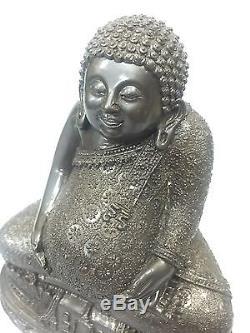 9721-thai Amulet Happy Buddha Meditation Rich Sankajai Lp Pern Statue Black