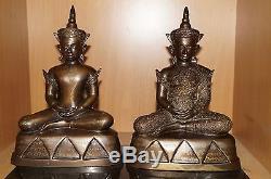 A Pair of Phra Ngan Chai Hang Ngang Ajarn Thiam Thai Buddha amulet statue