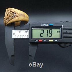 ANCIENT BONE RING 21.9 mm SOMDEJ BUDDHA JARN YANT LP TIM Real THAI AMULET