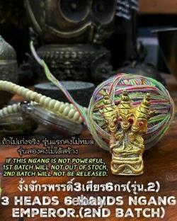 Amulet Magic 3 Head 6 Hand Ngang 2nd Buddha Thai Charm Money Love Power Ajarn O