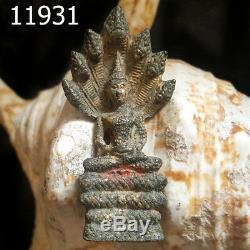 Ancient Phra Nakprok 7 Naga Protect Thai Buddha Statue #11931g