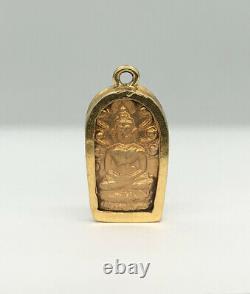 Antique 22k 23k 24k Solid Yellow Gold Case Buddha Thai Buddhism Amulet Pendant
