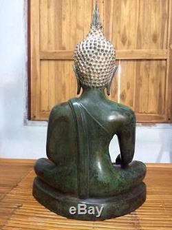 Antique Buddha Bronze Phra Sukhothai Thai Amulet H 24 inch Statues Nice