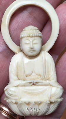 Antique Buddha Lotus pendant Amulet hand carved ox yoga thai monk meditation